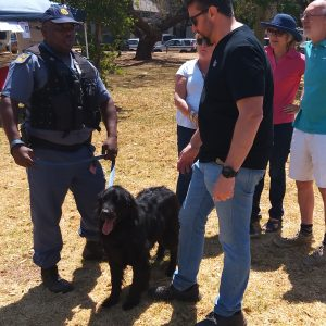 Canine unit discusses handling with CPF vice chair Wayne Lurie at 2019 Open Day