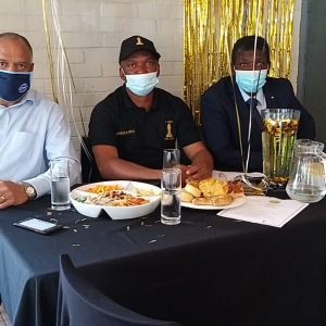 CPF EXCO member Peter Keshwar with Station Commander Colonel Gopane and retiring Colonel Ledwaba